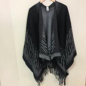 Jackets & Blazers - OSFA black & grey cape style shawl